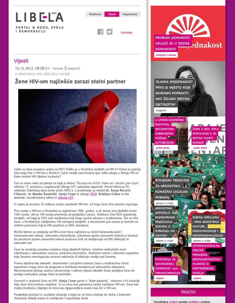 Llibela - Žene HIV-om najčešće zarazi stalni partner