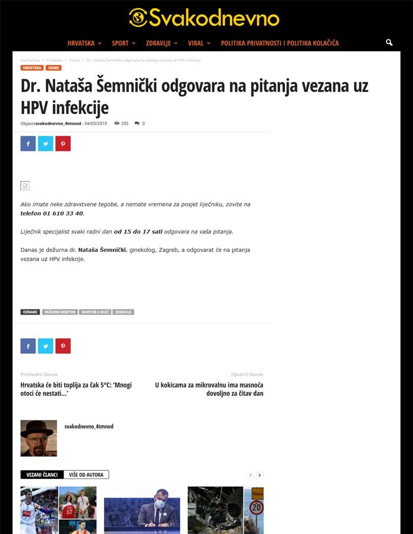 Svakodnevno - Dr. Nataša Šemnički odgovara na pitanja vezana uz HPV infekcije